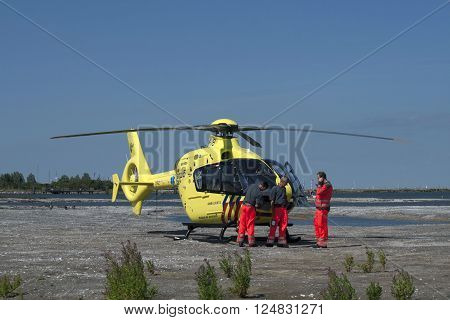 Medemblik  , the netherlands - 12 August,2012 :Medical rescue helicopter on the way to the hospital
