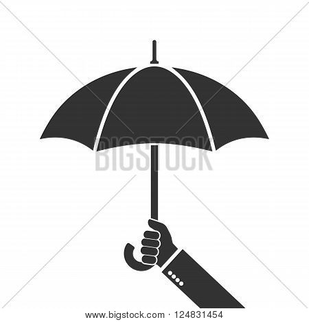Hand of man holding an umbrella. Vector illustration. Umbrella icon.