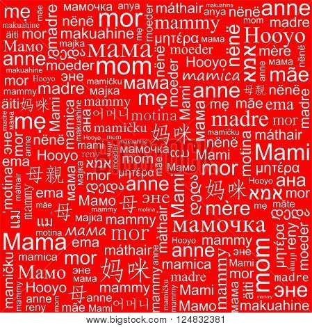 Red background with the word Mom in different languages