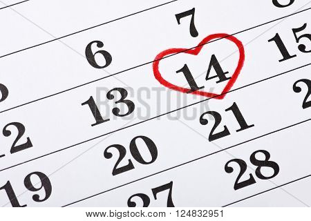 date of February 14 on the calendar Valentine's Day red heart encircled