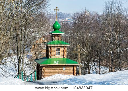 Chapel on the source of holy water in the city of Tutaev, Russia