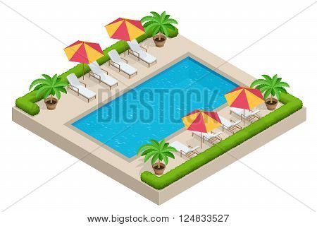 Summer travel concept.  Swimming pool, parasol umbrella, beach chairs. Swimming pool Flat 3d isometric vector illustration