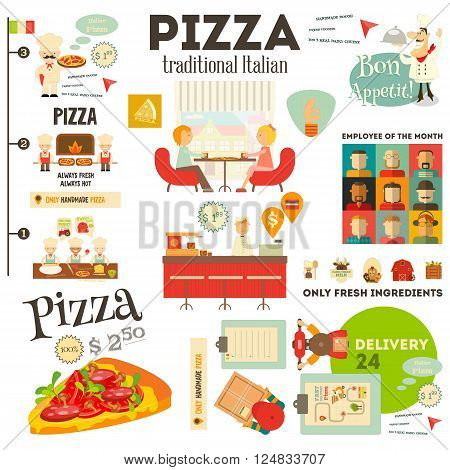 Pizzeria. Meal in Cafe and Pizza Making. Flat Design. Pizzeria Infographic. Vector Illustration.