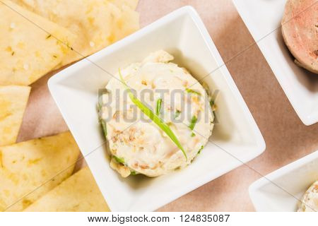 Delicious chicken egg pate with scallions. Macro. Photo can be used as a whole background.