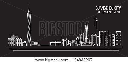 Cityscape Building Line art Vector Illustration design - Guangzhou city