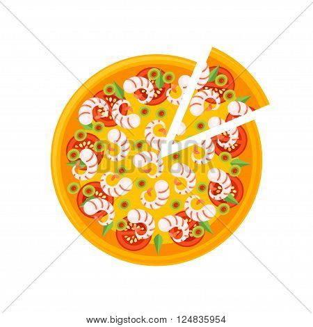 Pizza Icon isolated on a white background. Pizza slice. Pizza Icon in a flat style. Pizza with seafoods cheese tomatos and olives. Vector illustration.