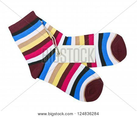 colorful striped socks and tag for the text and the price is isolated on a white background