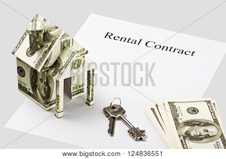 House of the money and the keys in the pure form of the contract rental