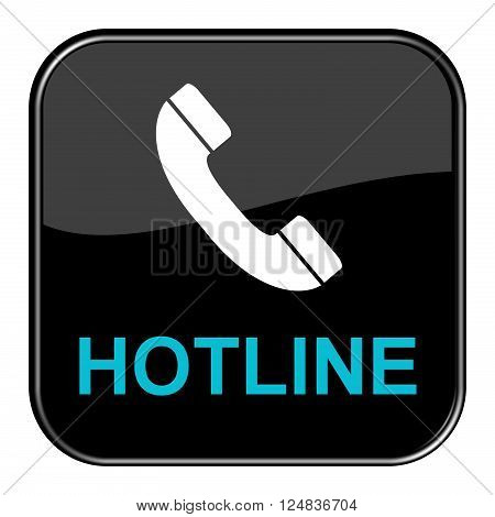 Isolated shiny black button with symbol is showing Hotline