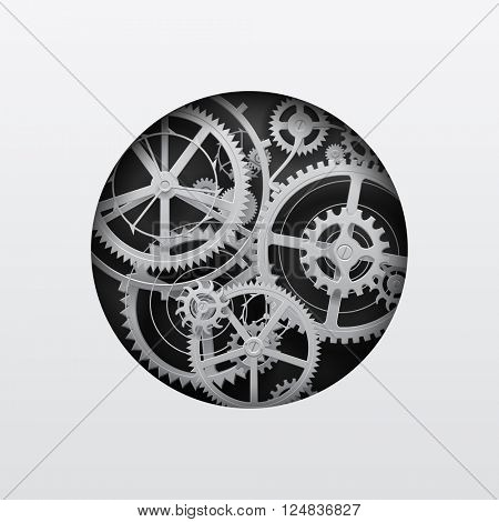 White gear wheels in the cut round hole on black. Circle with gears. Techno background