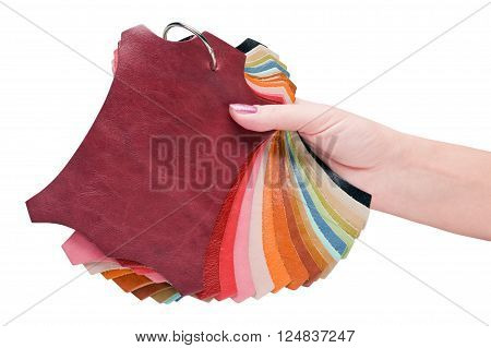 samples of natural leather isolated on white background
