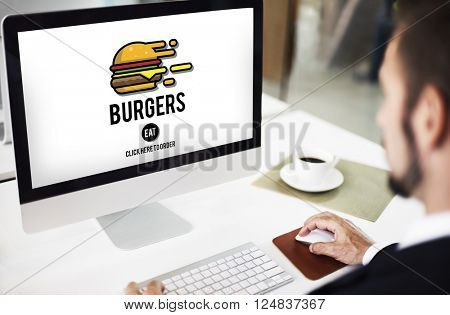 Burgers Online Buying Junk Food Nourishment Concept