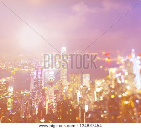 Partially Defocused Hongkong Cityscape City Life Concept