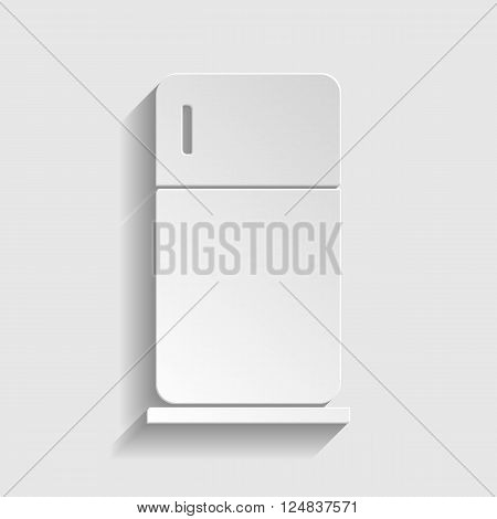 Refrigerator sign. Paper style icon with shadow on gray.