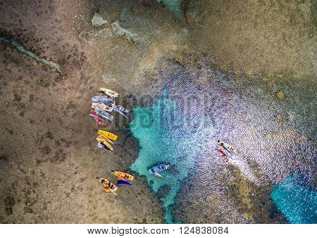 Top view of Porto de Galinhas beach located in Pernambuco State, Brazil