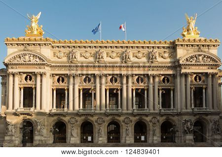 Paris France-March 13 2016 : The opera house Palais Garnier is one of the most famous opera houses in the world a symbol of Paris.It located at place de l'Opera in 9th arrondissement of Paris.