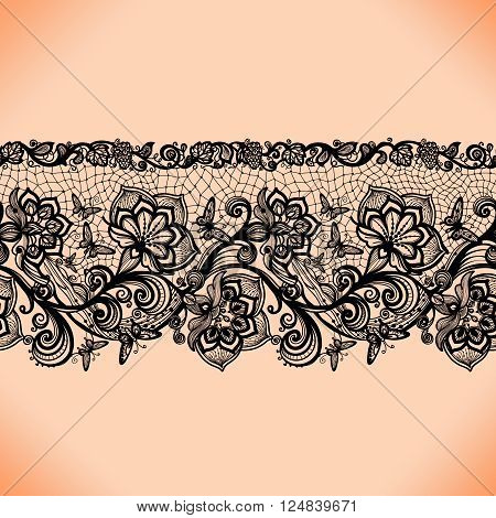 Abstract seamless lace pattern with flowers and butterflies. Infinitely wallpaper, decoration for your design, lingerie and jewelry. Your invitation cards, wallpaper