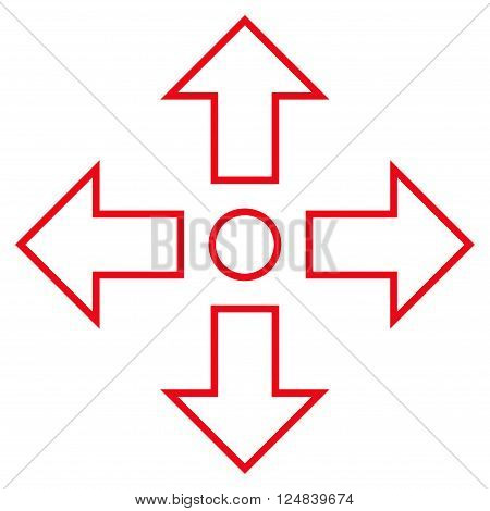 Maximize Arrows vector icon. Style is outline icon symbol red color white background.