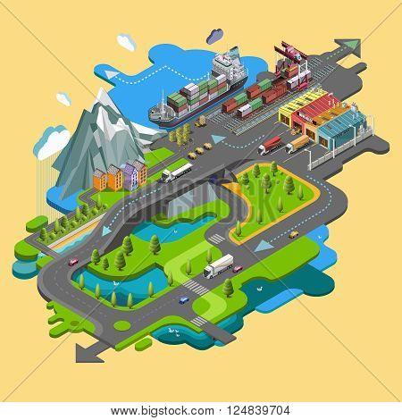 Flat vector map landscape; parks; buildings; seating area; sports grounds; picture of the nature of mountains and lakes; road; GPS navigation; infographic 3d isometric concept. Top view.