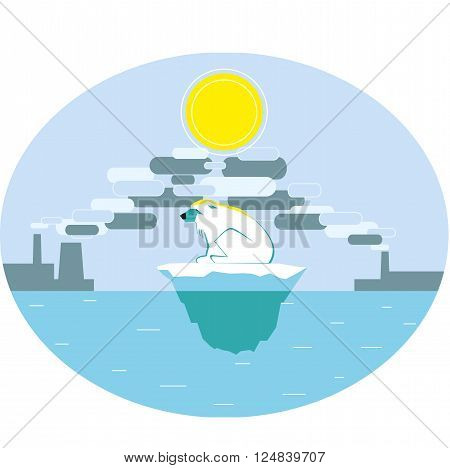 Polar bear suffering of global warming. The harm of industrial pollution. Greenhouse effect. Vector illustration.