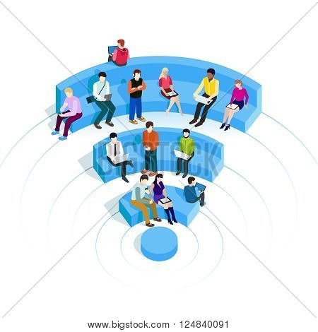 People in wi-fi zone. Public Wi-Fi zone wireless connection technology. Isometric vector illustrations. Isolate on white. People surfing internet on the shaped seats of WiFI.