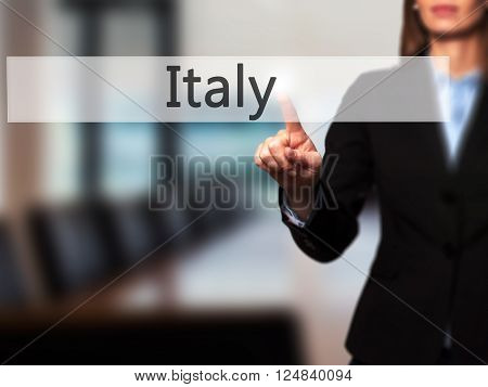 Name - Businesswoman Hand Pressing Button On Touch Screen Interface.