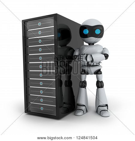 Robot and server on white background (done in 3d)