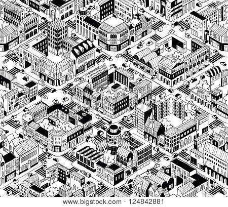 City Urban Blocks Seamless Pattern (Medium) in isometric projection is hand drawing with perimeter blocks courtyards streets and traffic. Illustration is in eps8 vector mode pattern is repetitive.