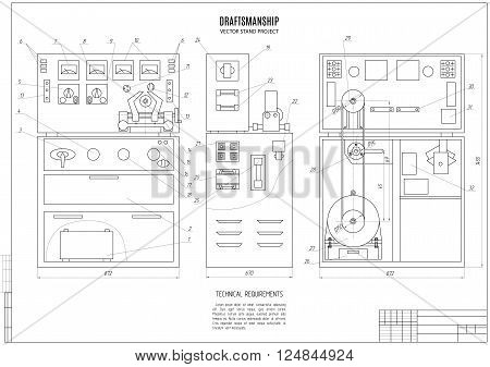 technical drawing of the stand design project construction plan with horizontal frame on the white background. stock vector illustration eps10