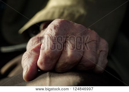 Hand of the old man. Lots of texture and character in the old male hand. ** Note: Shallow depth of field