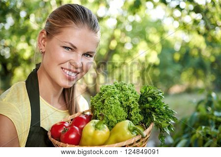 Young smiling female in kitchen garden holding basket with fresh cultivated vegetables. Happy woman gardener showing homegrown tomatoes, pepper and salad.