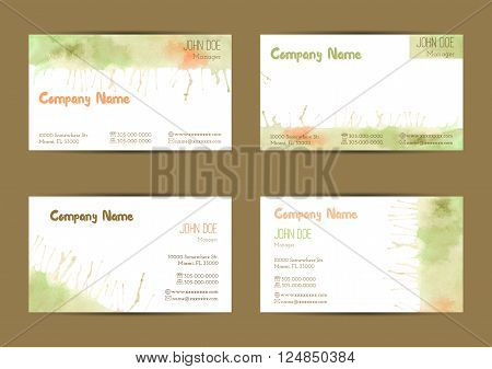 Set of hand painted watercolor horizontal business card templates. Colorful pastel abstract green yellow and orange brush stocks and splashes on a white background. Complied with standard size.