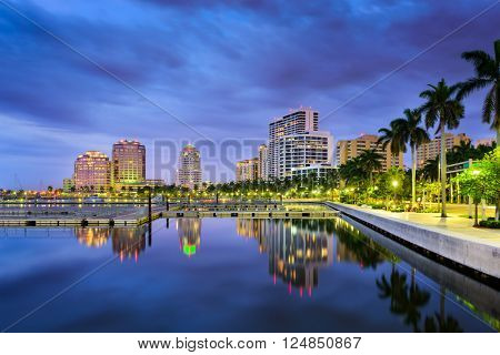 West Palm Beach, Florida, USA intracoastal waterway skyline.