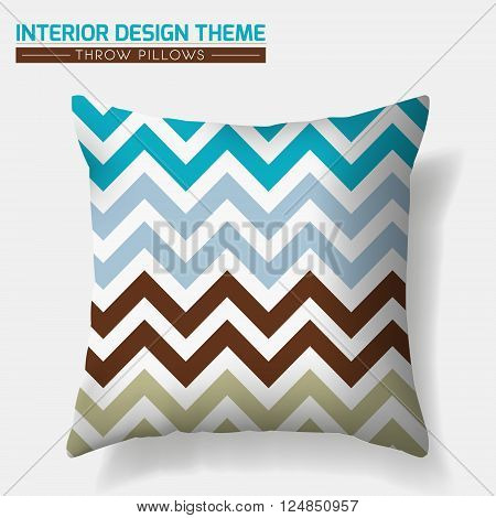 Decorative Cheerful Throw Pillow design template. Original pattern is complete masked. Modern interior design element. Creative Sofa Toss Pillow. Vector design is layered editable