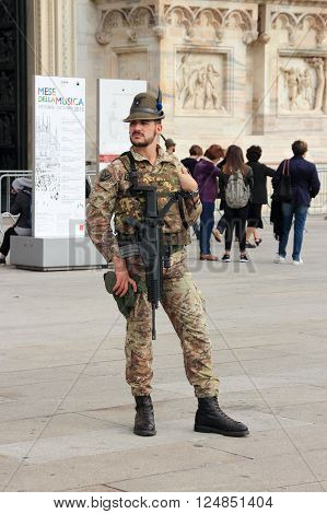 Milan, Italy, 29 September 2015: National Guard near Milan Cathedral