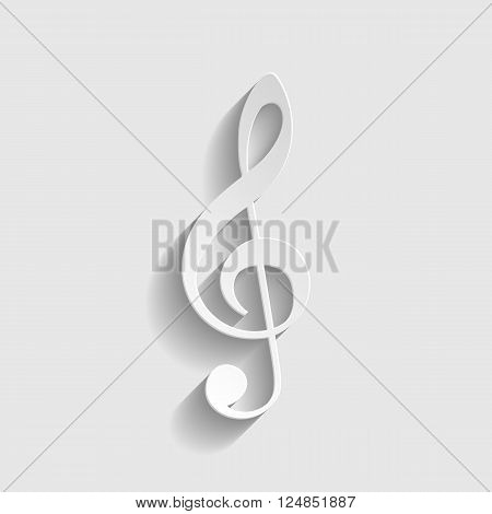 Music violine clef sign. Paper style icon with shadow on gray.