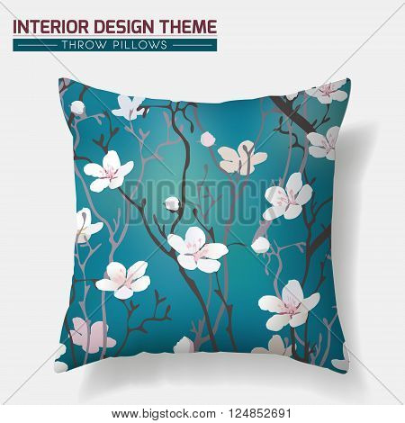 Decorative Cherry Blossom Floral Throw Pillow design vector template. Original pattern is complete masked. Interior design element. Creative Sofa cushion. Vector design is layered editable