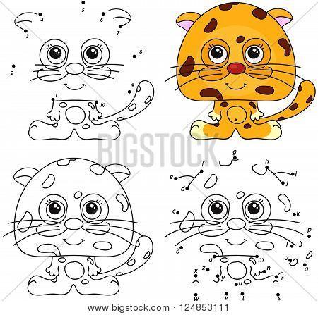Cartoon Jaguar. Coloring Book And Dot To Dot Game For Kids
