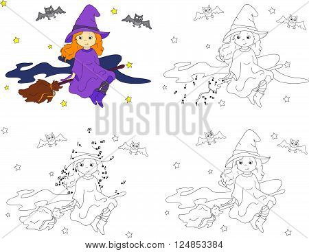 Pretty Friendly Witch Flying On A Broomstick In The Night Sky On Halloween. Coloring Book And Dot To