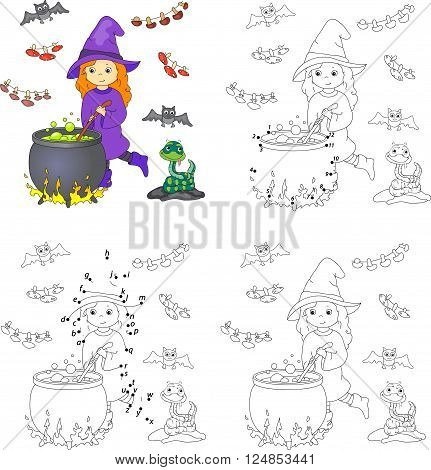 Pretty Friendly Witch Brews A Potion. Magic Potion Boils In A Cauldron. Coloring Book And Dot To Dot