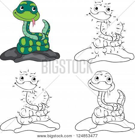 Cartoon Snake. Coloring Book And Dot To Dot Game For Kids