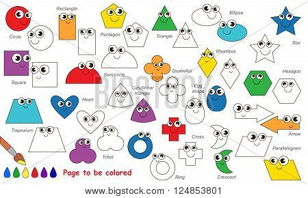 Set of geometric shapes to be colored. Coloring book for children. Visual game.