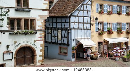 Eguisheim France - june 19 2015 : the old and picturesque village in summer. Here born the pope Leon 9 in 1002