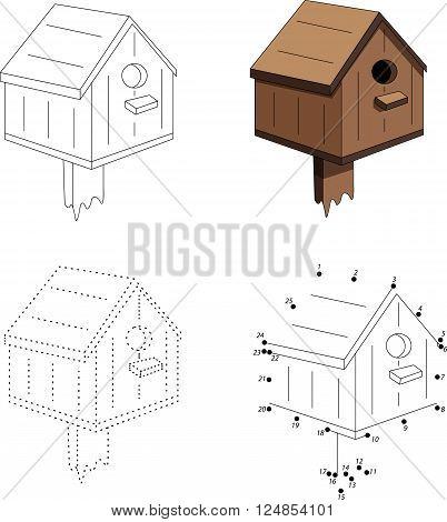 Cartoon Nesting Box. Dot To Dot Game For Kids