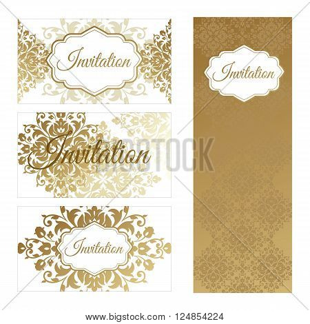 Set invitations templates business cards. The concept of a gold foil printing on a white background. Vector abstract illustration.