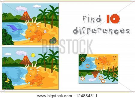 Funny Cute Pliosaur And Styracosaurus On The Background Of A Prehistoric Nature. Color By Number Edu