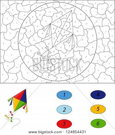 Cartoon Colorful Kite. Color By Number Educational Game For Kids