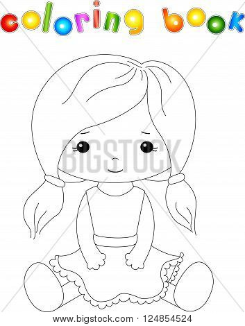 Fabric Doll Isolated On White. Coloring Book For Kids