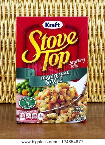 RIVER FALLS,WISCONSIN-APRIL 07,2016: A box of Stove Top stuffing mix from Kraft Foods. Kraft Foods is headquartered in Northfield,Illinois.