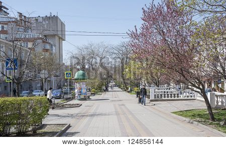 ROSTOV-ON-DON RUSSIA- APRIL 07- On the street Pushkin walking citizens on April 07; 2016 in Rostov-on-Don